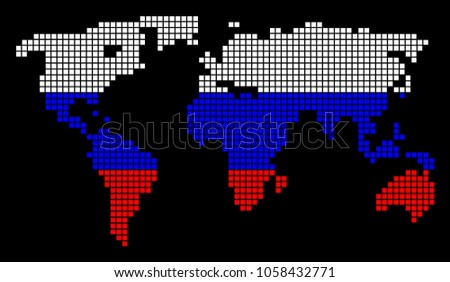 Earth background made with dots descargue grficos y vectores gratis a dotted pixel world map vector geographic map in russia flag colors on a black gumiabroncs Gallery