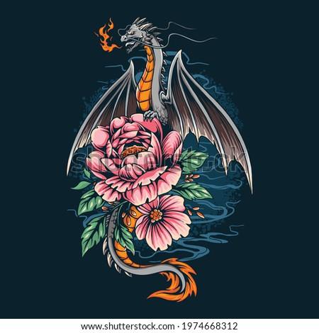 a dragon on a pretty flower
