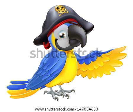 A drawing of a cartoon parrot pirate character with eye patch and hat with skull and crossbones pointing with its wing