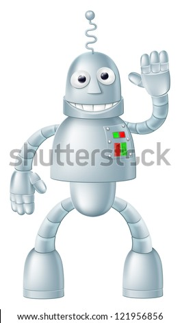 A drawing of a cute fun robot character waving and smiling