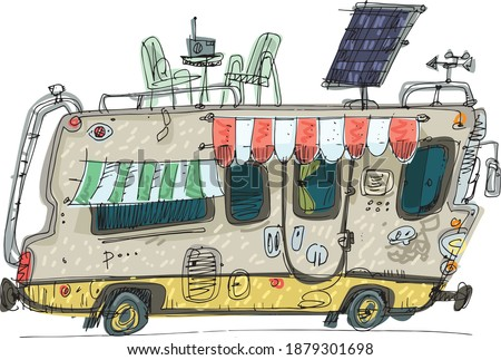 A drawing of camper van with different facilities and fit roof. Caricature handmade sketch of motorhome. Cartoon.