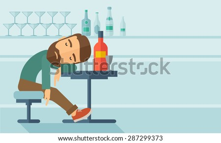 a drunk man sitting fall asleep