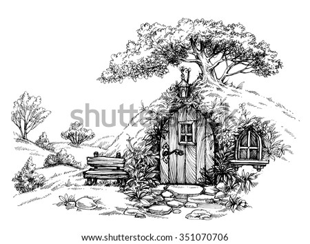 a dwarf house in the woods
