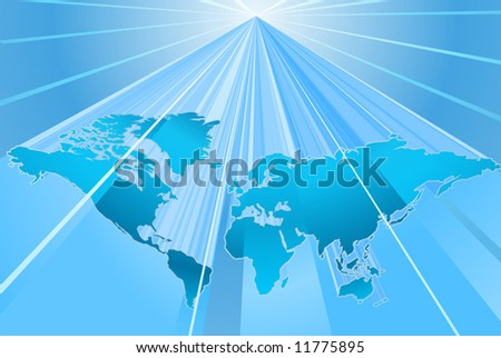 A dynamic 3d bue world map background
