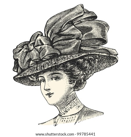 A elegant lady wearing a large hat  - vintage engraved illustration -  Catalog of a French department store - Paris 1909 - stock vector