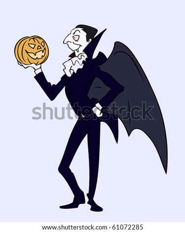 A elegant old vampire wearing black suit with high collar and bat wings is holding a pumpkin in his hand on the eve of Halloween