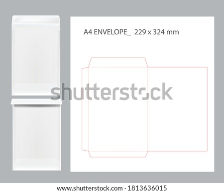 A4 ENVELOPE DIECUT TEMPLATE ORIGINAL SIZE Foto stock ©