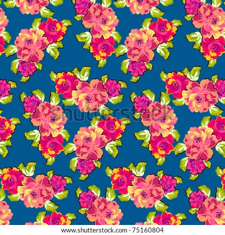 a fabric pattern featuring bright roses against a dark blue background - stock vector