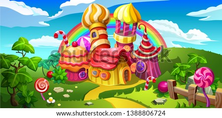 A fairytale candy castle town. Towers and houses made of candy, lollipop, cake and marmalade. Vector cartoon illustration. #1388806724