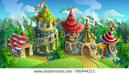 a fairytale village with bright