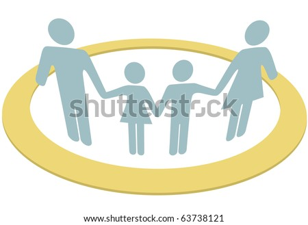 A family hold hands safe inside a circle symbol of security protection and togetherness