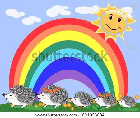 a family of five cute cartoon