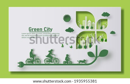 A family riding a bike with a city background, landing page and banner design, paper illustration, and 3d paper.
