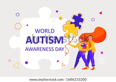 A family with an autistic child holds balloons. World Autism Awareness Day. The puzzle is a worldwide symbol of autism. Autism Awareness concept for design of banners, flyers, posters, promotions.