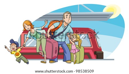 A Family With Two Kids Going On Vacation By Train Vector People Are Grouped