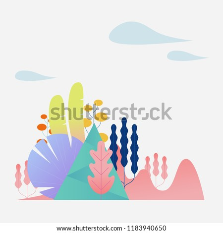 A fantasy space made up of abstract plants and leaves. flat design style vector graphic illustration