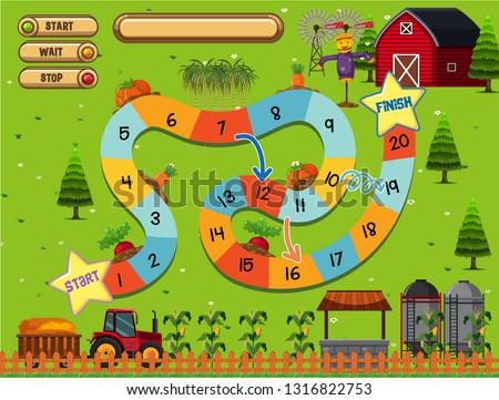 A farm board game template illustration