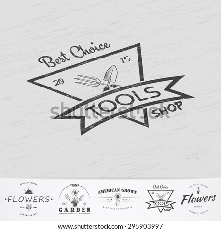 A farm growing flowers. Gardening Tools Shop. Garden Center set. Old retro vintage grunge. Scratched, damaged, dirty effect. Monochrome typographic labels, stickers, logos and badges.