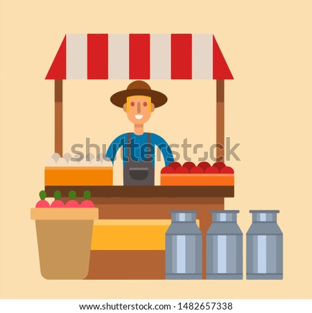 A farmer sells milk, eggs, vegetables and fruits at the counter. Vector illustration.