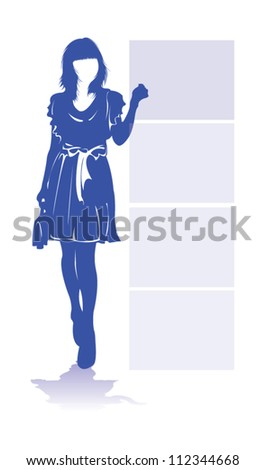 A fashion in blue silhouette.