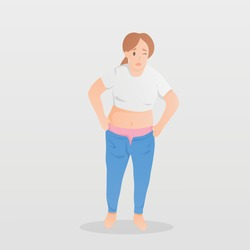 A fat woman standing worry about her body shape and weight,She felt uncomfortable and could not wear the jeans that she wear to before,Healthy character,Vector illustration.