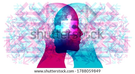 A female and male side silhouette positioned face to face overlaid with various semi-transparent pointing arrows. A white semi-transparent jigsaw piece is placed centred across the 2 side profiles. ストックフォト ©