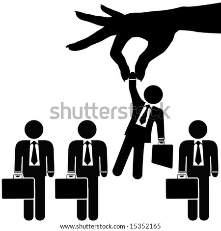 A female hand to find, select, choose, pick a businessman to dangle above a line of business people for employment, recognition,  promotion, hire, etc.