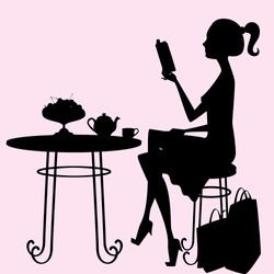 A female silhouette sitting at a table, drinking tea and reading a book after a hard day of shopping! Objects on the table, shopping bags, hair, body, table and chair are each an individual object.