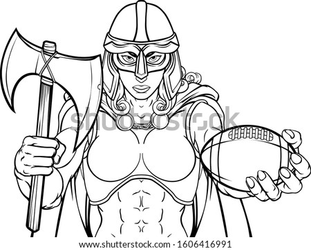 A female Viking, Trojan Spartan or Celtic warrior woman gladiator knight American football sports mascot