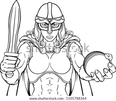 A female Viking, Trojan Spartan or Celtic warrior woman gladiator knight cricket sports mascot