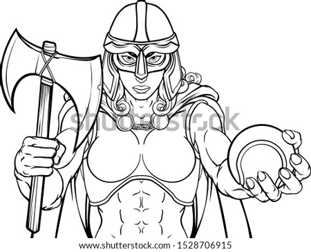 A female Viking, Trojan Spartan or Celtic warrior woman gladiator knight tennis sports mascot