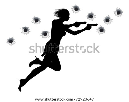 A  femme fatale sexy woman with two guns in Hollywood style action sequence. - stock vector