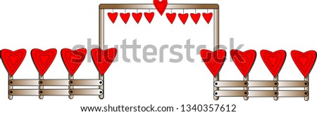 a fence with many red hearts on