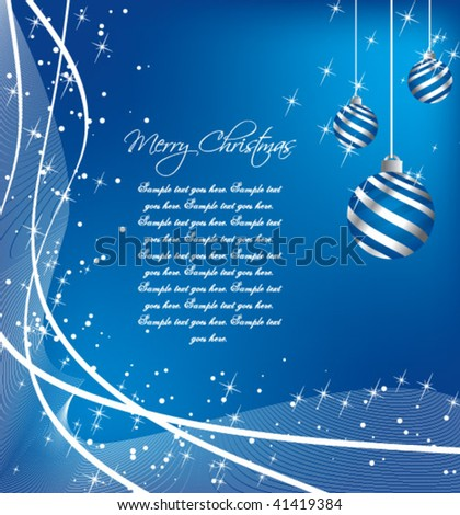 A festive Holiday background with sparkles and hanging ornaments