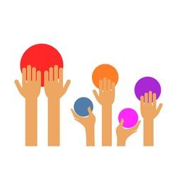 a few hands and a few circles of various colors