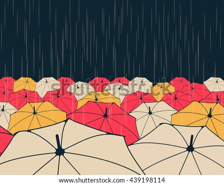 a field of umbrellas under the