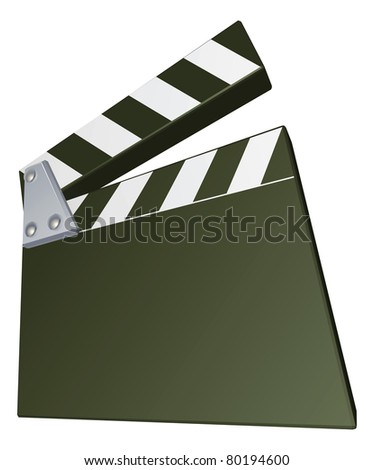 A film clap clapper board clapperboard illustration with dynamic perspective. Copyspace on the board for your text.