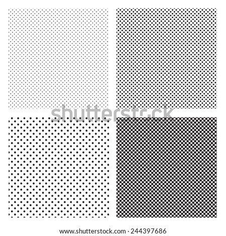 A fine various size dotted textures- black and white vector pattern