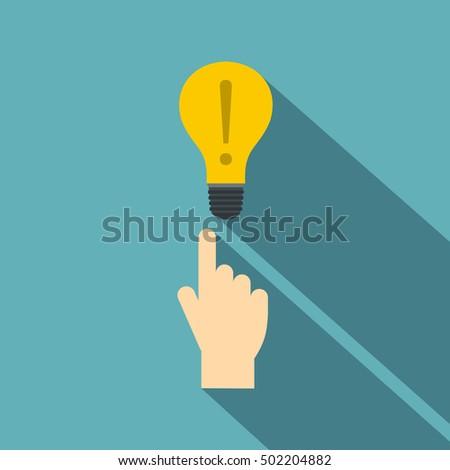 a finger pointer and light bulb