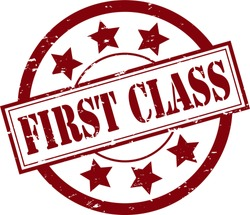 A 'First Class' Rubber Stamp Vector Illustration