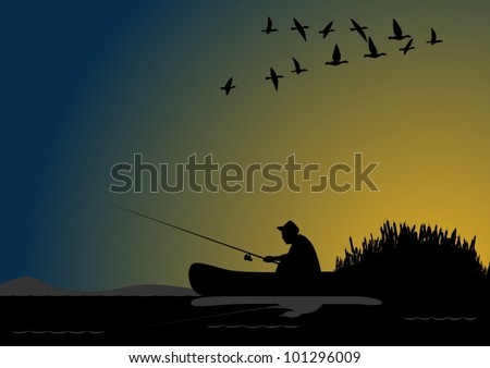 A fisherman with a fishing rod in the boat
