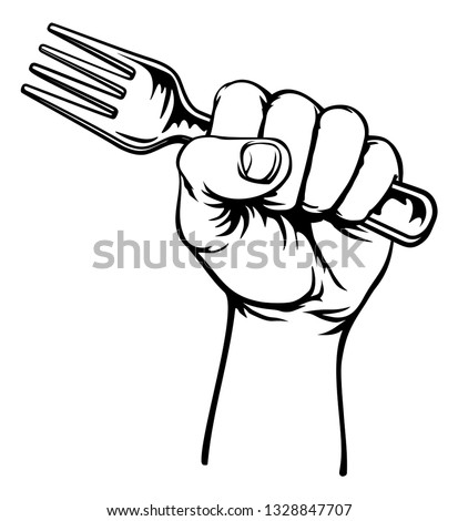 A fist hand holding a fork in a vintage intaglio woodcut engraved or retro propaganda style Stockfoto ©