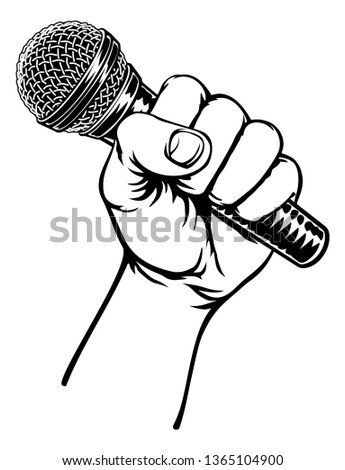 A fist hand holding a microphone or mic in a vintage intaglio woodcut engraved or retro propaganda style Stockfoto ©