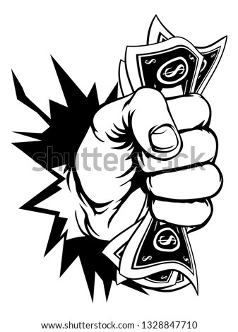 A fist hand holding money in the form of cash paper dollar bills and breaking through the background or wall. In a vintage intaglio woodcut engraved or retro propaganda style Stockfoto ©