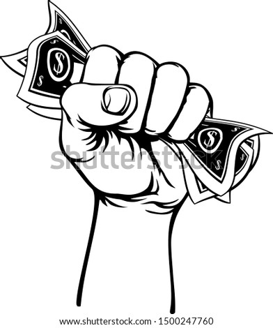 A fist hand holding money in the form of cash paper dollar bills in a vintage intaglio woodcut engraved or retro propaganda style Stockfoto ©