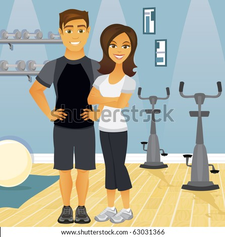a fit couple in an indoor gym