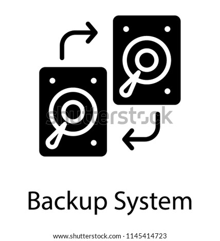 A fixed data storage device hard disk with arrows, disk copy