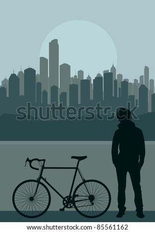 A fixed-gear bicycle (or fixie) and young men in front of city skyscraper background vector