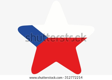 A Flag Illustration inside a star of the country of Czech Republic