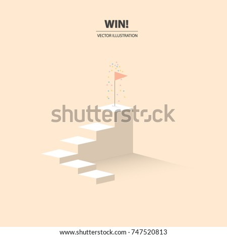 A flag of success on the top of stairs with congratulation colorful flakes. Business concept of success. Vector illustration.